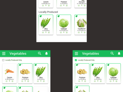 A grocery app with an indic...