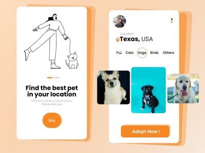 Pets Adoption App design co...
